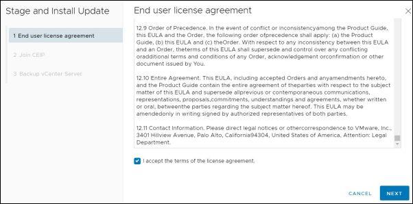vCenter Server 7.0.0b - End User License Agreement