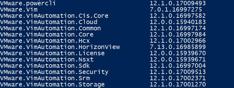 VMware PowerCLI 12.1.0