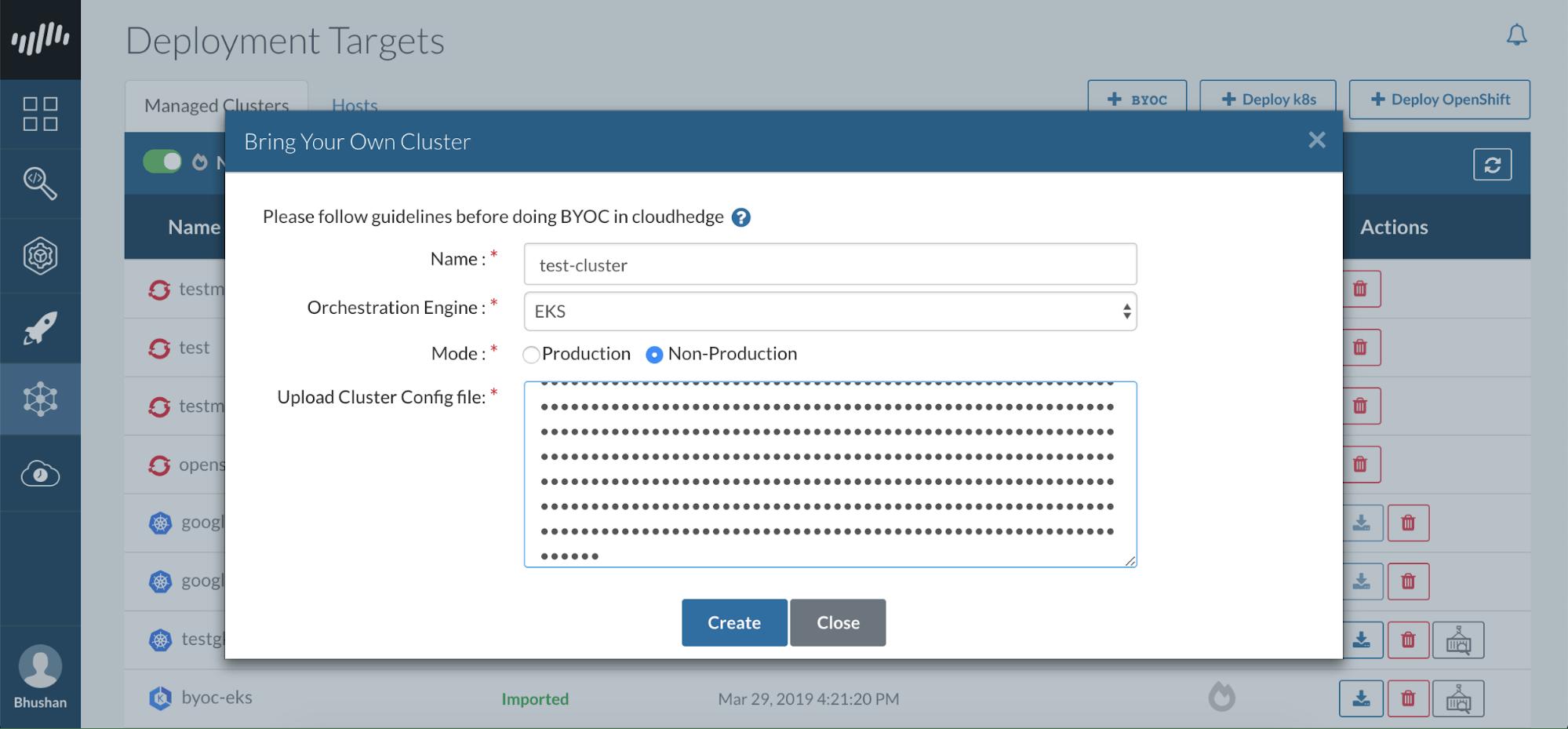Cluster Details CloudHedge