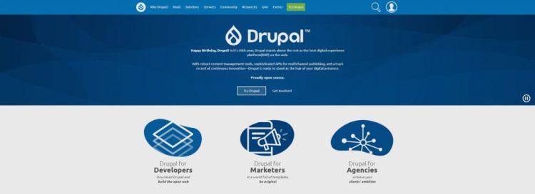 a screenshot of Drupal's website