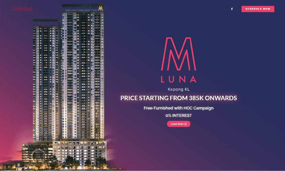 mah sing m luna property website design kl pj