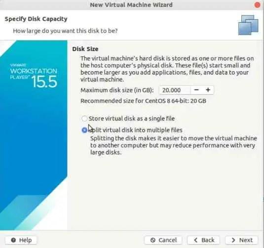 split-virtual-disk-of-centos-8-VM