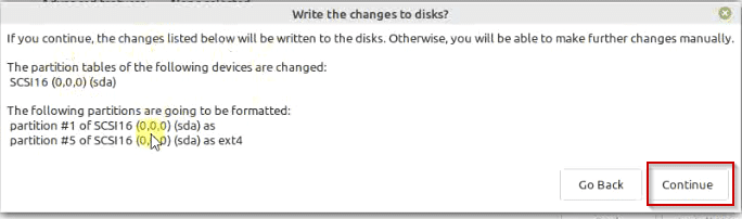 Write changes to the disks Linux mint