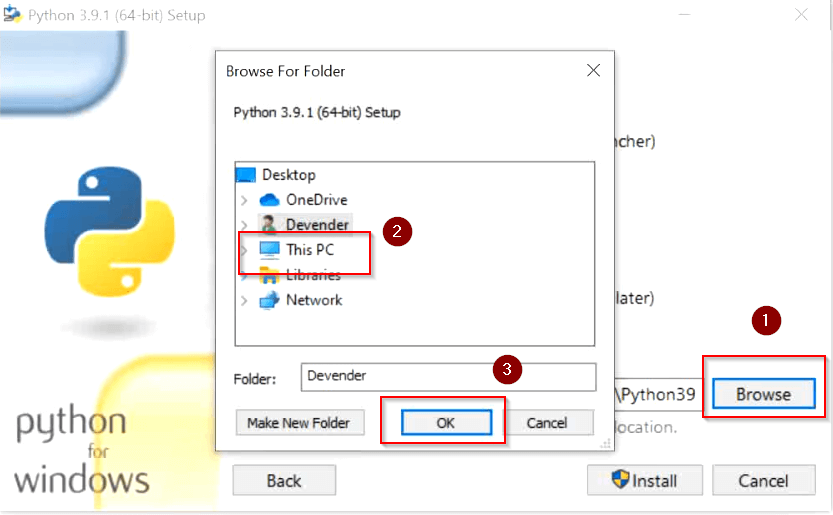 select-different-installation-location-python