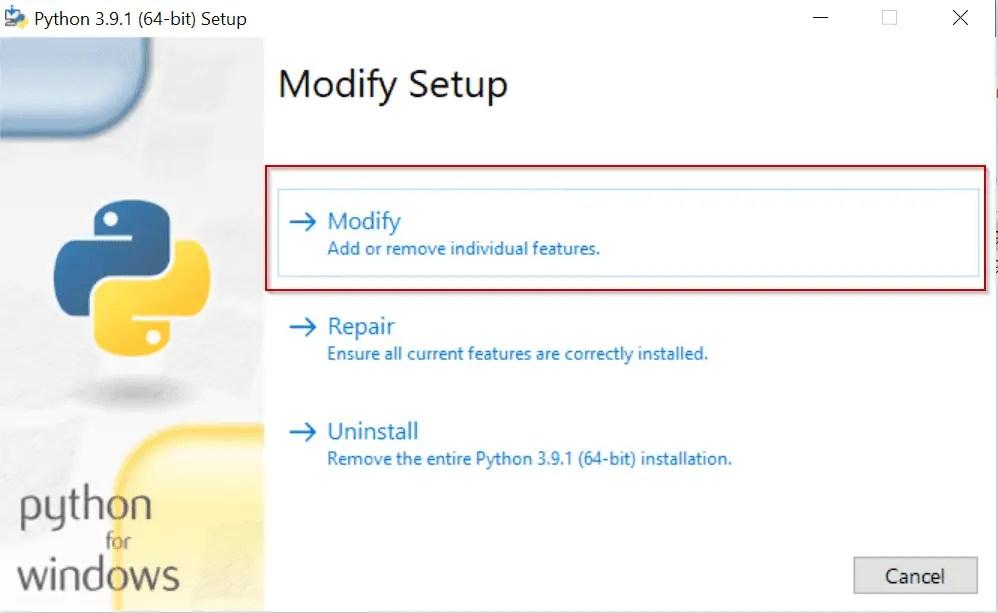 Modify-python-installation