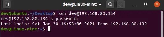 ssh linux mint from ubuntu