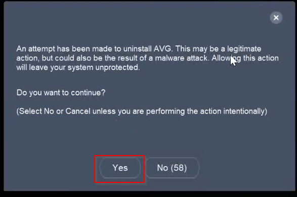 select-yes-to-remove-avg-antivirus