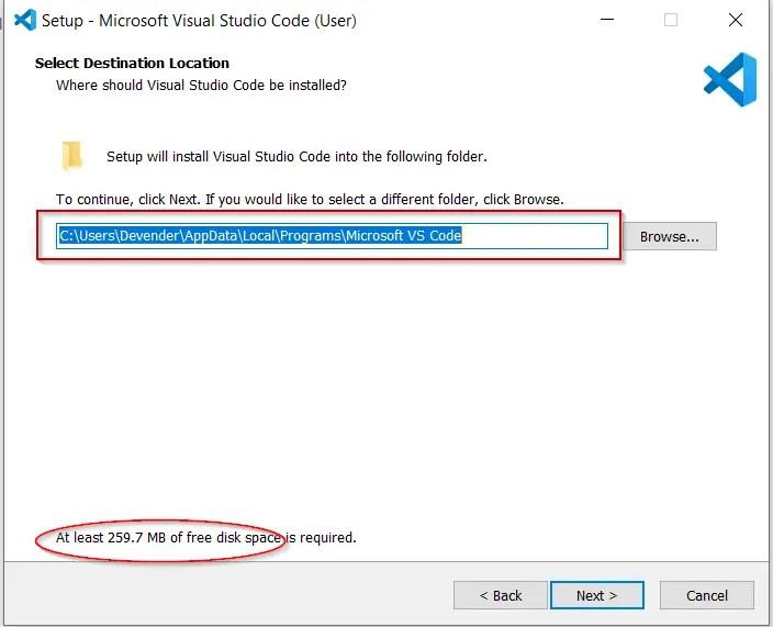 Select-target-location-for-visual-studio-code