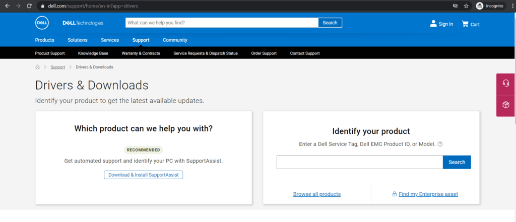 Download-drivers-from-Dell-website