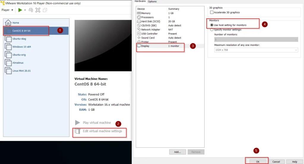 Change monitors settings VM