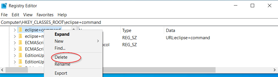 find-eclipse-and-delete-registry-keys