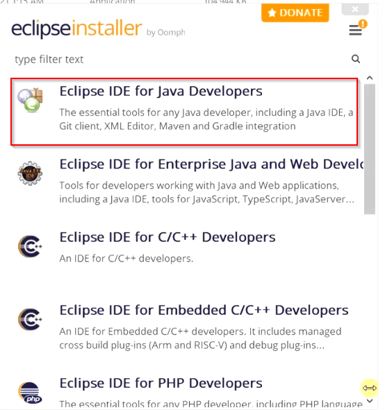 Select-Eclipse-IDE-for-java-developers