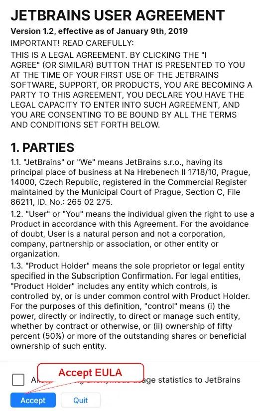 Accept JetBrains toolbox app End-user license agreement