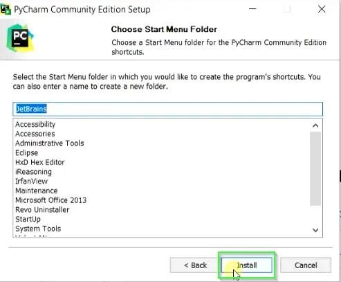 Create start menu shortcuts for PyCharm
