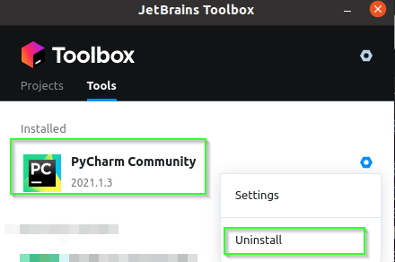 Uninstall window in toolbox app to remove PyCharm