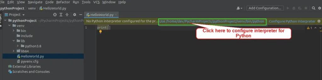 "select default Python interpreter, in case of ""Configure interpreter for Python error"""