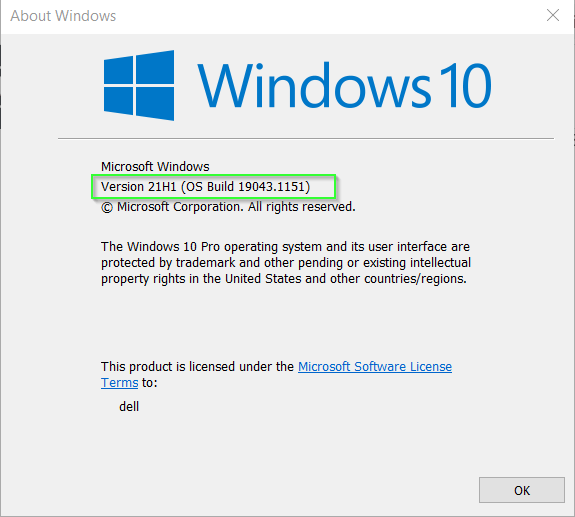 Check Windows 10 OS build and version