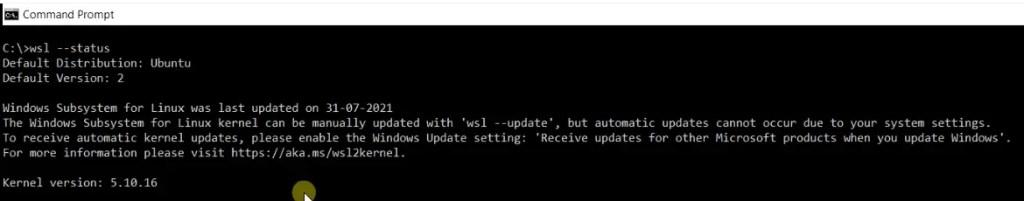 Run wsl --status command to check wsl installation configuration details