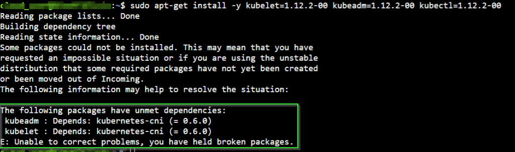 E: Unable to correct problems - you have held broken packages