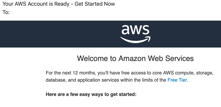 AWS your account is ready image