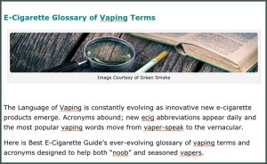 Vapers Vaping Glossary of Ecigarette term and acronyms