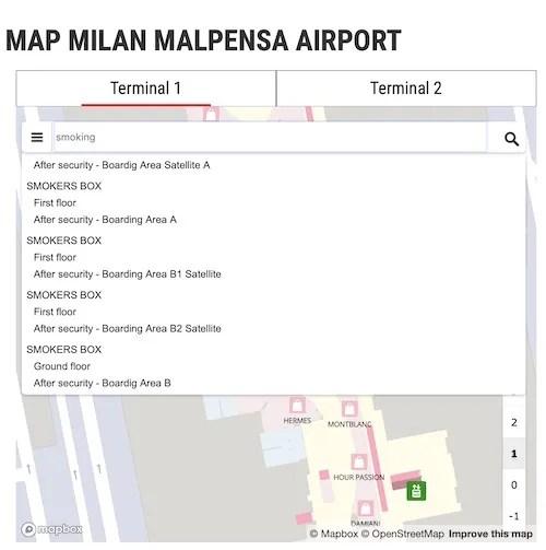 Milan Malpensa airport smoking guide