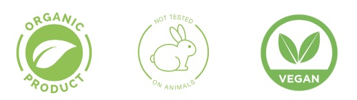 icons for organic product, cruelty free, vegan