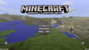minecraft title screen windows 10
