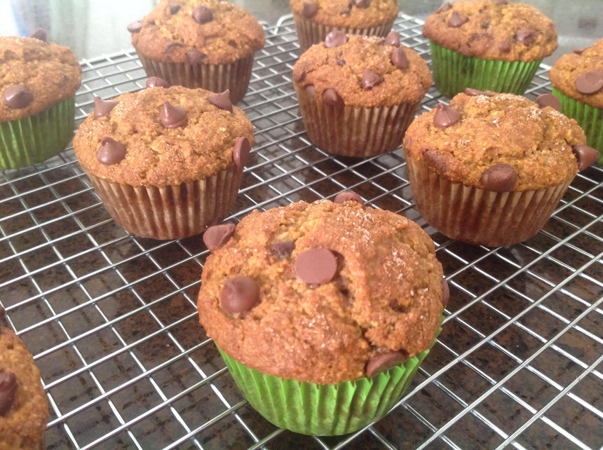 Healthy-ish Pumpkin Chocolate Chip Muffins