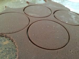 cutting the Hamantaschen dough