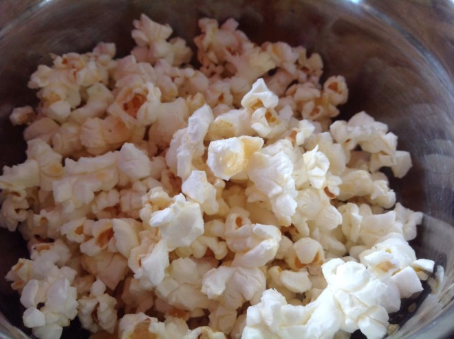 homemade microwave popcorn finished