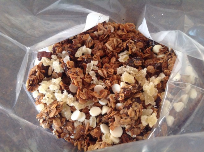 white chocolate granola with toppings