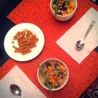 Chicken Quinoa Stew with Butternut Squash, Kale, and Crispy Chickpeas