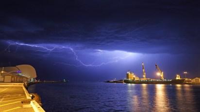 Lightning over Fremantle harbour