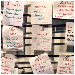 Cards written by delegates, some of whom are people living with HIV, at AIDS2014