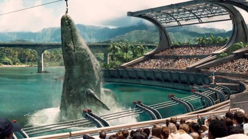 A water dwelling compatriot of the dinosaurs, the Mosasaurus, joins the fun in Jurassic World (Universal Studios)