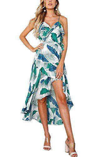 e21d302f3b Angashion Women s Dresses-Floral Bohemian Spaghetti Strap Wrap V Neck  Irregular High Low Maxi Dress