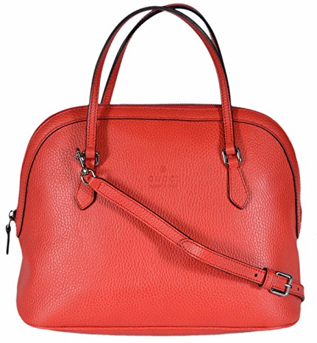 Gucci Women's Medium Textured Leather Convertible Dome Handbag (Sporting Red 6511)