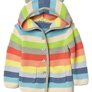 Baby Gap Girls Crazy Stripe Bear Hoodie Cardigan Sweater 3-6 Months
