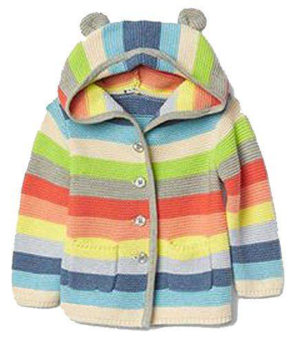 Baby Gap Girls Crazy Stripe Bear Hoodie Cardigan Sweater 3-6 Months