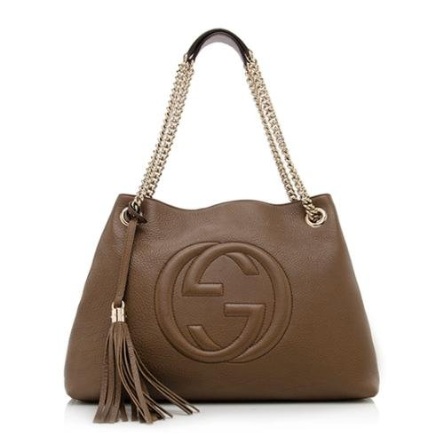 Gucci Soho Leather Shoulder Bag Dark Brown Cuir Gold Chain Handbag New Italy