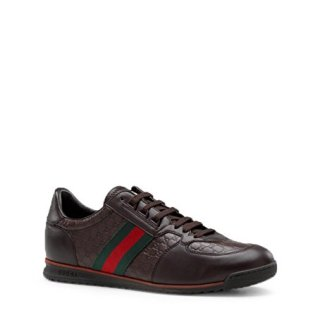 Gucci Men's 'SL 73' Guccissima Leather with Web Detail Sneaker, Dark Brown (8 US/7 UK)