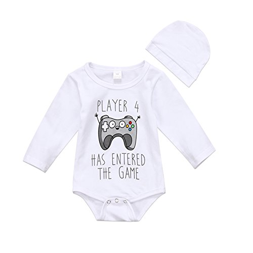 Cute Infant Newborn Baby Boy Girl Long Sleeve Game Bodysuit Romper With Hat Jumpsuit Outfit Clothes (0-6 Months, White)