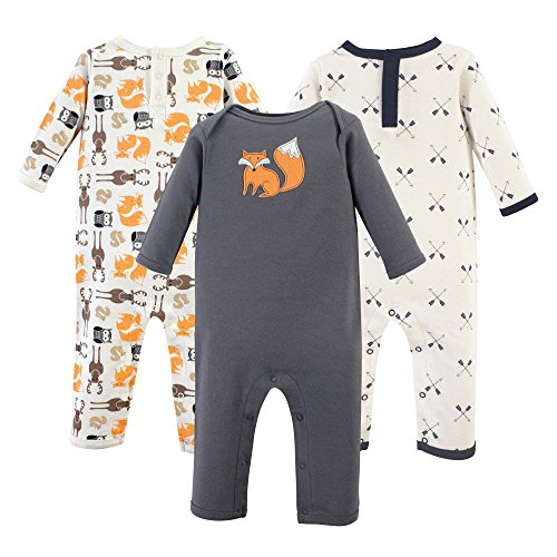 Hudson Baby Baby Cotton Union Suit, 3 Pack, Forest, 3 Months