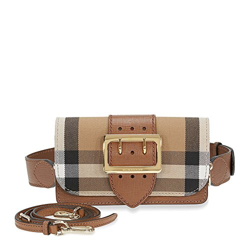 Burberry Women's Buckle Bag in House Check and Leather Tan Black