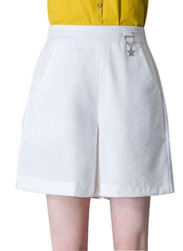 Chartou Women's Elastic Waist High-Rise Baggy A-Line Bermuda Stretch Shorts (Medium, White)