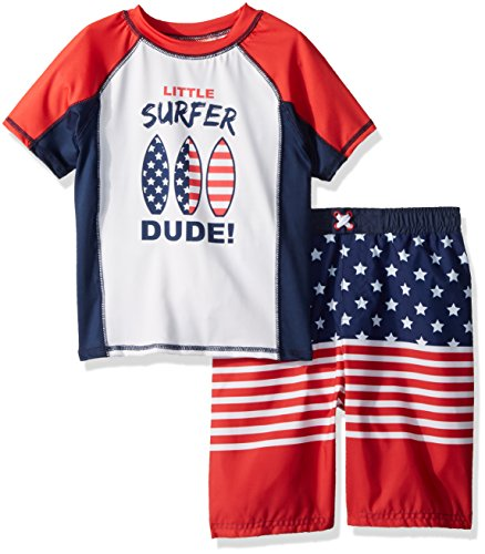 Baby Buns Toddler Boys' Two Piece Surf USA Rashguard Swimsuit Set, Multi, 4T