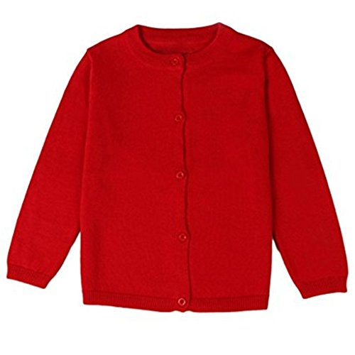 Baby Boys Girls Button-down Basic Crew Neck Solid Cardigan Toddler Cotton Knit Sweater (18-24 Months, Red)