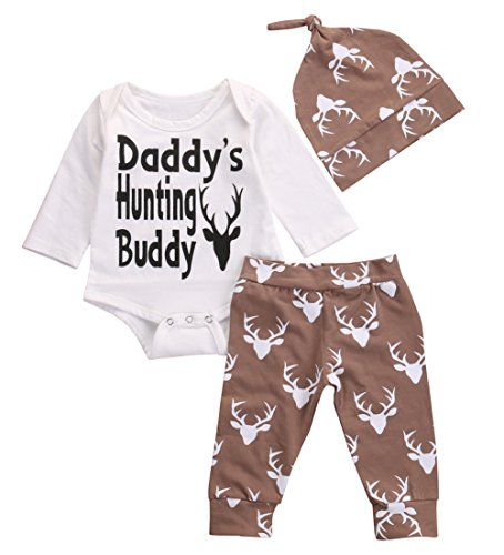 9e1f8662 Funny Newborn Baby Boys White Deer Bodysuits and Long Pants with Hat 3Pcs  Outfits Set (. Home Shop Baby Baby Boys Clothing ...