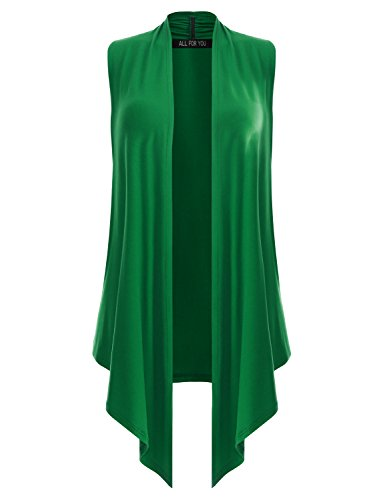 All for You Women's Sleeveless Soft Drape Cardigan Kelly Green XX-Large